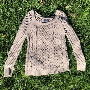 American Eagle Tan Cable Knit Pullover Sweater